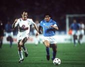 Football UEFA Cup Final Second Leg Naples Italy 17th May 1989 Napoli 2 v VfB Stuttgart 1 Napoli captain Diego Maradona is chased by a Stuttgart...