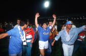 Football UEFA Cup Final Second Leg Naples Italy 17th May 1989 Napoli 2 v VfB Stuttgart 1 Napoli captain Diego Maradona celebrates with supporters at...