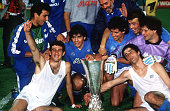 Football UEFA Cup Final Second Leg Naples Italy 17th May 1989 Napoli 2 v VfB Stuttgart 1 Napoli captain Diego Maradona holds the trophy as he...