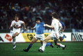 Football UEFA Cup Final Second Leg Naples Italy 17th May 1989 Napoli 2 v VfB Stuttgart 1 Napoli's Diego Maradona on the attack