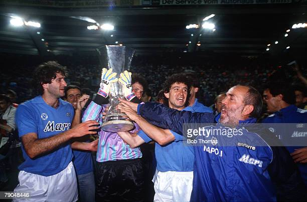 Football UEFA Cup Final Second Leg Naples Italy 17th May 1989 Napoli 2 v VfB Stuttgart 1 The Napoli players and officials celebrate with the trophy