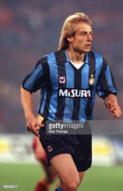 Football UEFA Cup Final Second Leg Rome Italy 22nd May 1991 Roma 1 v Inter Milan 0 Inter Milan's Jurgen Klinsmann
