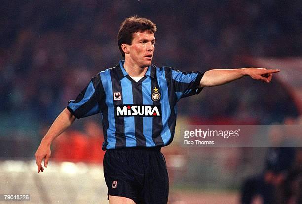 Football UEFA Cup Final Second Leg Rome Italy 22nd May 1991 Roma 1 v Inter Milan 0 Inter Milan's Lothar Matthaus