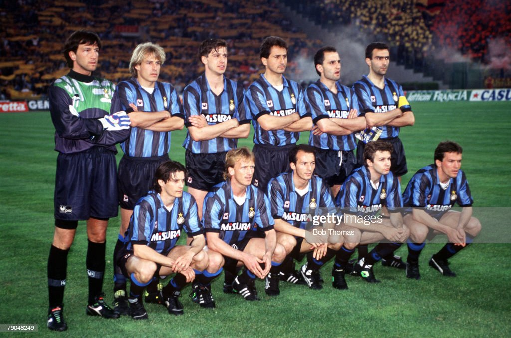 Football UEFA Cup Final Second Leg Rome Italy 22nd May 1991 Roma 1 v Inter Milan 0 The Inter Milan team lineup together for a group photograph Back...