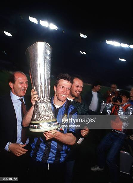 Football UEFA Cup Final Second Leg Rome Italy 22nd May 1991 Roma 1 v Inter Milan 0 Inter Milan's Lothar Matthaus holds the trophy on a lap of honour