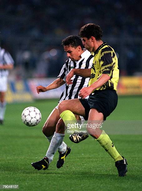 Football UEFA Cup Final Second Leg Turin Italy 19th May 1993 Juventus 3 v Borussia Dortmund 0 Roberto Baggio of Juventus attempts to move past the...