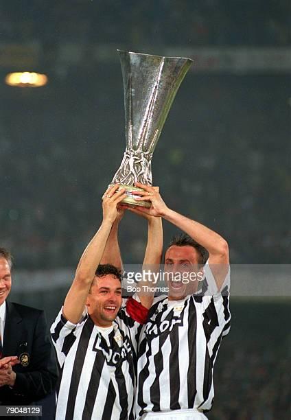 Football UEFA Cup Final Second Leg Turin Italy 19th May 1993 Juventus 3 v Borussia Dortmund 0 Juventus captain Roberto Baggio and Jurgen Kohler lift...