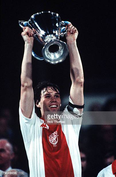 Football UEFA Cup Winners Cup Final Athens Greece 15th May 1987 Ajax Amsterdam 1 v Lokomotiv Leipzig 0 Ajax captain and winning goalscorer Marco Van...