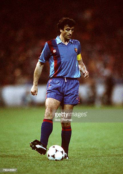 Football UEFA Cup Winners Cup Final Berne Switzerland 10th May 1989 Barcelona 2 v Sampdoria 0 Barcelona captain Jose Alesanco
