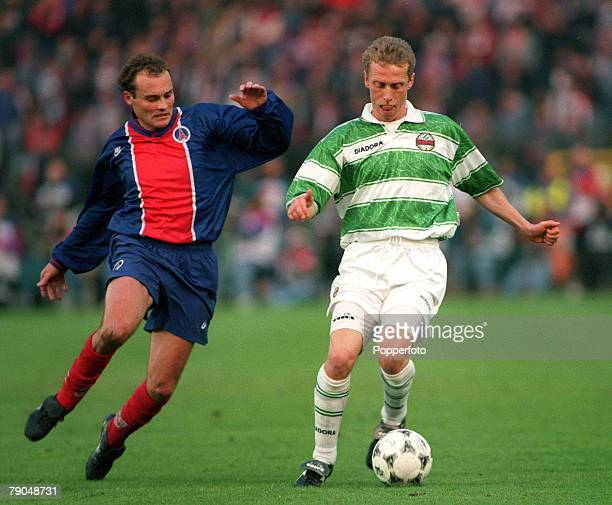 Football UEFA Cup Winners Cup Final Brussels Belgium 8th May 1996 Paris St Germain 1 v Rapid Vienna 0 Rapid Vienna's Peter Stoger is challenged by...