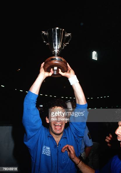 Football UEFA Cup Winners Cup Final Gothenburg Sweden 10th May 1990 Sampdoria 2 v Anderlecht 0 Sampdoria's twogoal hero Gianluca Vialli holds the...