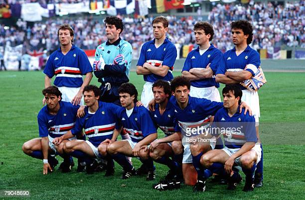 Football UEFA Cup Winners Cup Final Gothenburg Sweden 10th May 1990 Sampdoria 2 v Anderlecht 0 The Sampdoria team lineup together for a group...