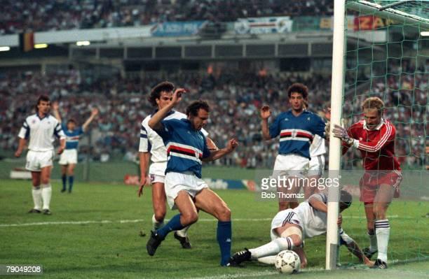 Football UEFA Cup Winners Cup Final Gothenburg Sweden 10th May 1990 Sampdoria 2 v Anderlecht 0 Sampdoria's Pietro Vierchowod watches his shot go...
