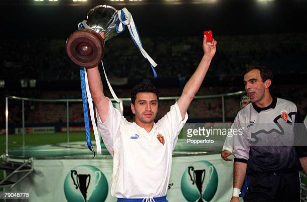Football UEFA Cup Winners Cup Final Paris France 10th May 1995 Arsenal 1 v Real Zaragoza 2 Real Zaragoza's Nayim who scored the winning goal in extra...