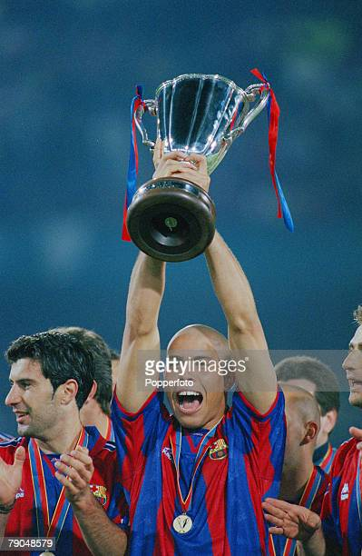 Football UEFA Cup Winners Cup Final Rotterdam Holland 14th May 1997 Barcelona 1 v Paris St Germain 0 Barcelona's Ronaldo holds the trophy aloft as he...