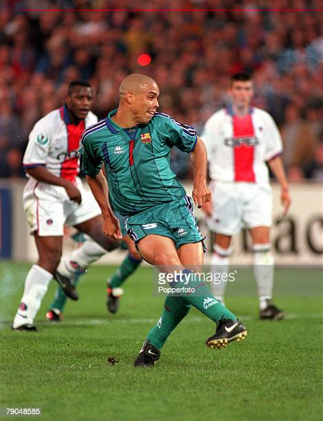 Football UEFA Cup Winners Cup Final Rotterdam Holland 14th May 1997 Barcelona 1 v Paris St Germain 0 Barcelona's Ronaldo shoots the winning goal from...