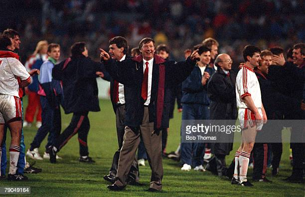 Football UEFA Cup Winners Cup Final Rotterdam Holland 15th May 1991 Manchester United 2 v Barcelona 1 Manchester United Manager Alex Ferguson...