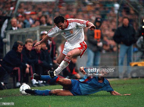 Football UEFA Cup Winners Cup Final Rotterdam Holland 15th May 1991 Manchester United 2 v Barcelona 1 Manchester United's Brian McClair hurdles a...