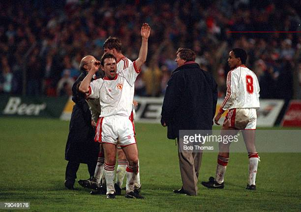 Football UEFA Cup Winners Cup Final Rotterdam Holland 15th May 1991 Manchester United 2 v Barcelona 1 Manchester United's Brian McClair celebrates...
