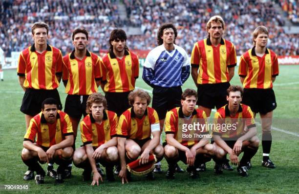 Football UEFA Cup Winners Cup Final Strasbourg France 11th May 1988 Mechelen 1 v Ajax Amsterdam 0 The Mechelen team lineup together for a group...