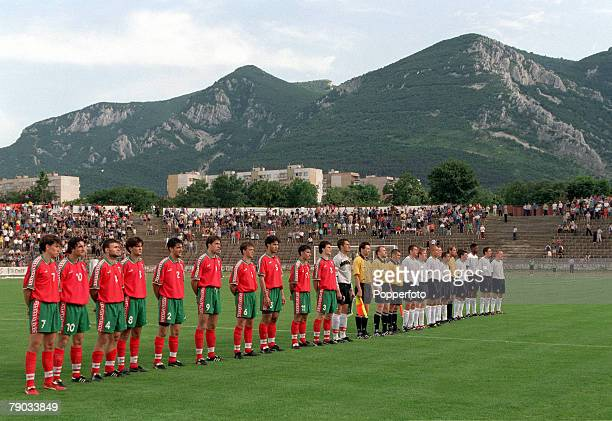 Football Under 21 European Championships 2000 Qualifier Vratsa Bulgaria 0 v England 1 8th June The two teams line up before the match