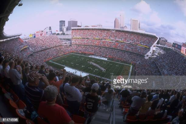 Football View of skyline and fans at Cleveland Browns Stadium before game vs Minnesota Vikings during preseason and return of team Cleveland OH...