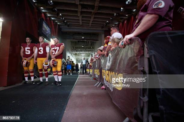 Washington Redskins Tress Way Dustin Hopkins and Nick Sundberg in runway before taking field before game vs San Francisco 49ers at FedEx Field...