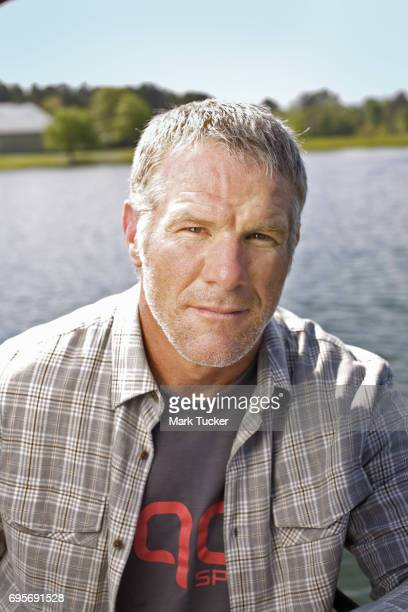 Where Are They Now Closeup casual portrait of former NFL QB Brett Favre posing during photo shoot on his 465 acre estate Brett Favre who won three...