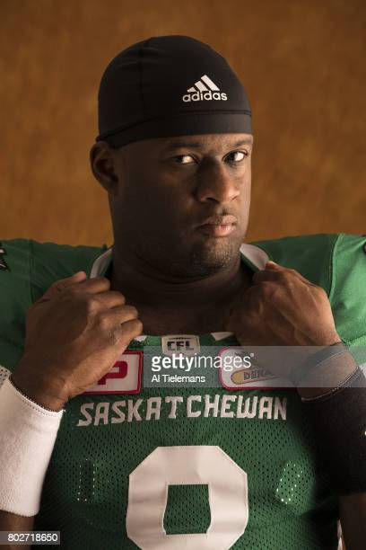 Where Are They Now Closeup portrait of former NFL QB and current Saskatchewan Roughriders QB Vince Young during photo shoot Young who won a BCS...
