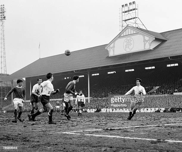 Football White Hart Lane London England 21st March 1964 Tottenham Hotspur v Manchester United Tottenham Hotspur's Maurice Norman heads the ball away...
