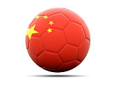 Football with flag of china. 3D illustration