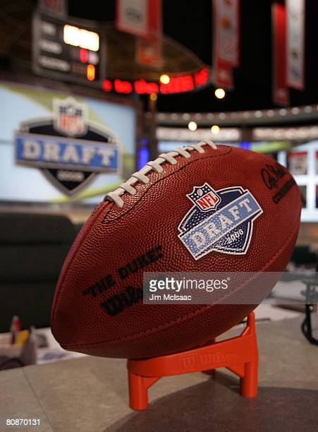 A football with the NFL draft logo is seen on the podium prior to the start of the 2008 NFL Draft on April 26 2008 at Radio City Music Hall in New...