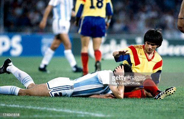 Football World Cup 1990 Argentina v Romania Juan Simon holds his head in pain