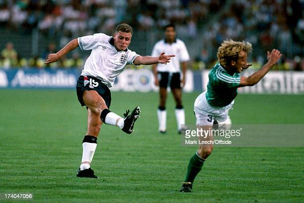 Football World Cup 1990 England v West Germany Paul Gascoigne shoots past Andreas Brehme