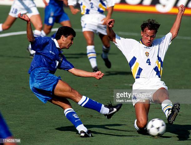 Football World Cup 1994 Brazil v Sweden Bebeto has his shot blocked by Joachim Bjorkland