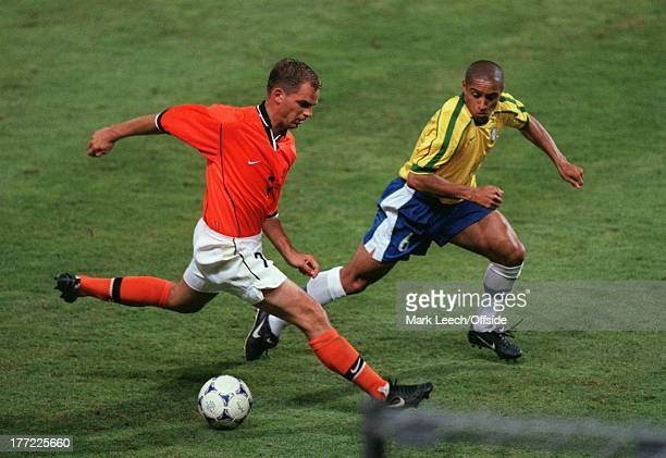 Football World Cup 1998 Brazil v Holland Ronald de Boer is tracked by Roberto Carlos