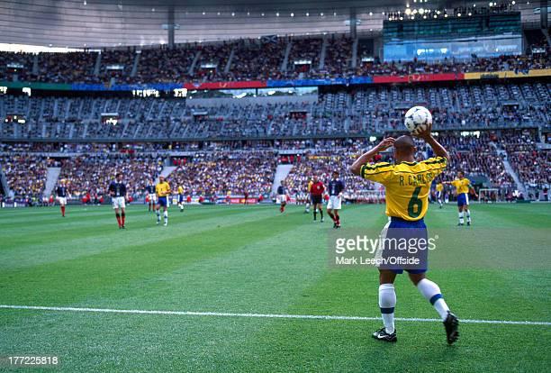 Football World Cup 1998 Brazil v Scotland Roberto Carlos prepares to take a throw inside the Stade de France