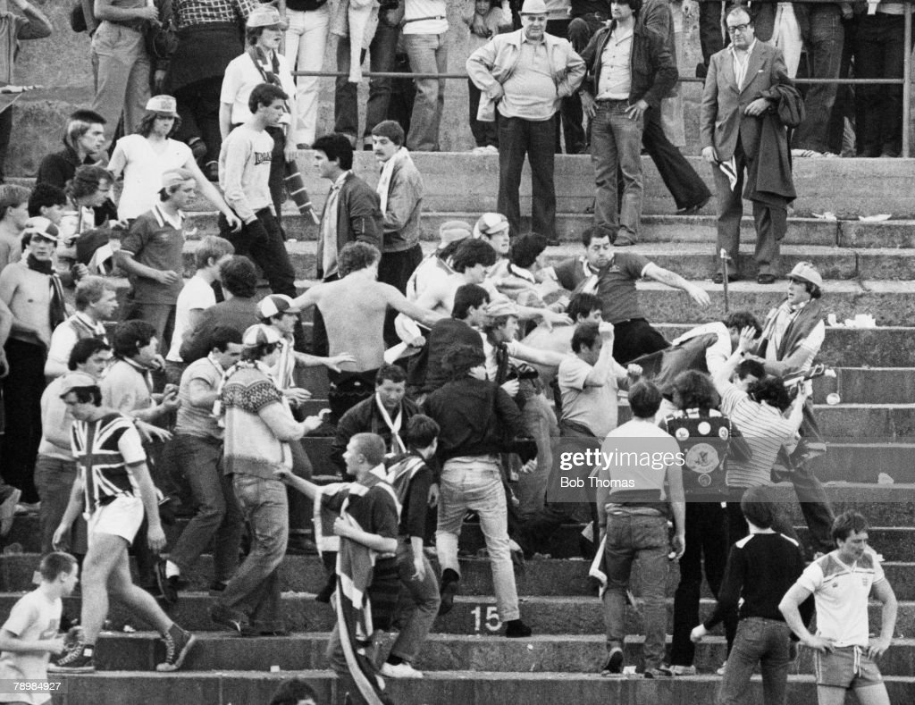 Football World Cup Qualifier Basle 30th May 1981 Switzerland 2 v England 1 England fans on the terraces fighting
