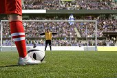 Footballer about to take a penalty