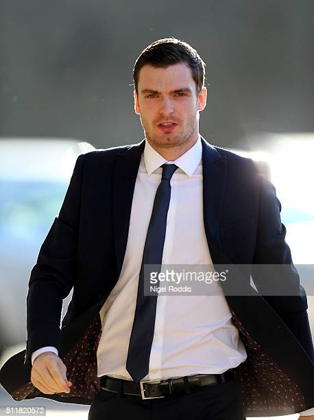 Footballer Adam Johnson arrives at Bradford Crown Court to give evidence on February 23 2016 in Bradford England The former Sunderland FC midfielder...