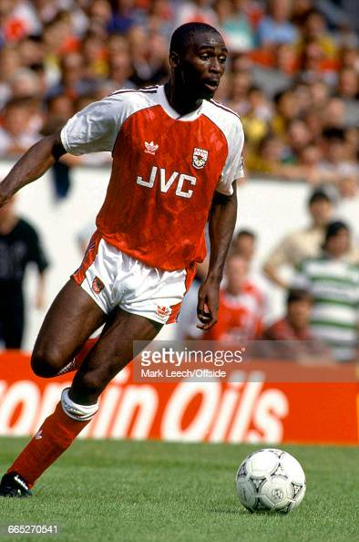Footballer Andrew Cole playing for Arsenal FC against Panathinaikos in the Makita International Football Tournament at the Arsenal Stadium Highbury...