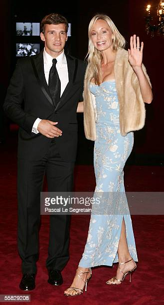 Footballer Andrey Shevchenko and wife Kristen Pazik arrive at the 20th birthday party of Dolce Gabbana on September 29 2005 in Milan Italy