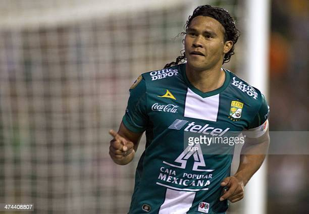 Footballer Carlos Pena of Leon celebrates after scoring against Santos during a Mexican Clausura tournament match in Leon Mexico on February 22 2014...