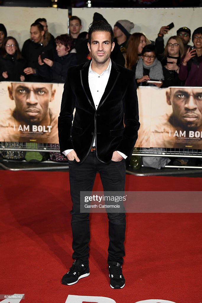 Footballer Cesc Fabregas attends the World Premiere of 'I Am Bolt' at Odeon Leicester Square on November 28, 2016 in London, England.