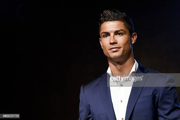 Footballer Christiano Ronaldo of Real Madrid and Portugal a new spokesman for MTG attends MTG commercial activity on July 9 2015 in Shanghai China