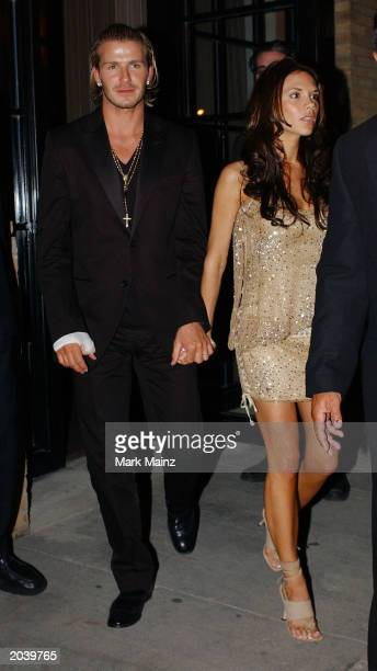 Footballer David Beckham and his wife Victoria leaves the Soho Club after a Vogue magazine party May 29 2002 in New York City
