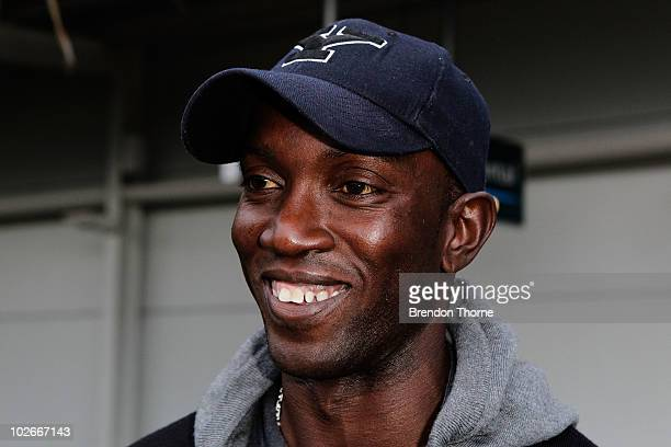 Footballer Dwight Yorke arrives ahead of the Sydney FC v Everton Tour Down Under match which takes place on July 10 at Sydney International Airport...
