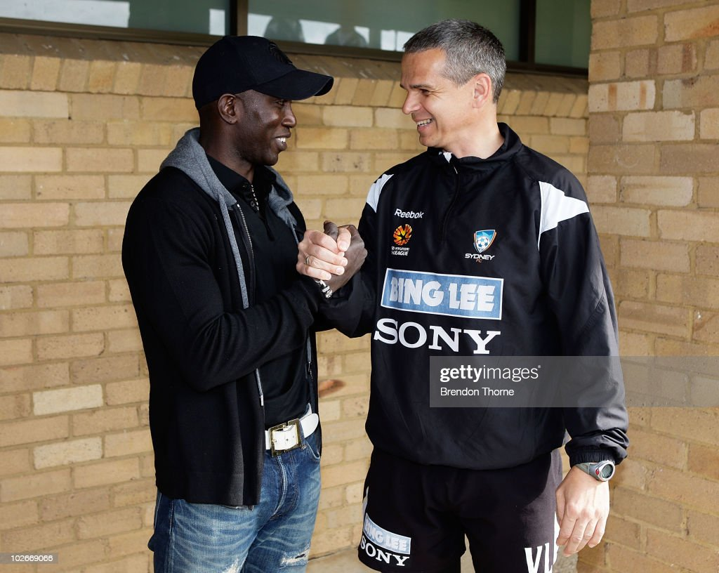 Footballer <a gi-track='captionPersonalityLinkClicked' href=/galleries/search?phrase=Dwight+Yorke+-+Soccer+Player&family=editorial&specificpeople=206855 ng-click='$event.stopPropagation()'>Dwight Yorke</a> meets with Sydney FC head coach Vitezslav Lavicka during a meet and greet with his Sydney FC teammates ahead of the Sydney FC v Everton Tour Down Under match, which takes place on July 10, at Macquarie University on July 7, 2010 in Sydney, Australia. Yorke will reprise his role with Sydney FC for the match.