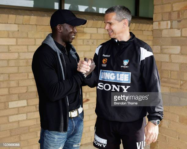 Footballer Dwight Yorke meets with Sydney FC head coach Vitezslav Lavicka during a meet and greet with his Sydney FC teammates ahead of the Sydney FC...