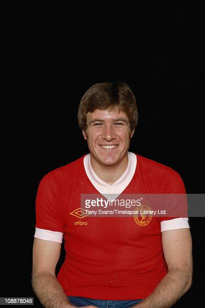 Footballer Emlyn Hughes former captain of Liverpool and England wearing his Liverpool jersey 1977